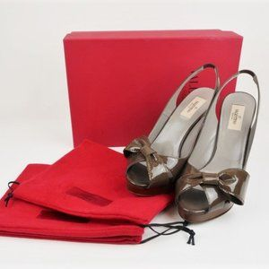 Valentino Bow Slingback Pumps Olive Patent Leather